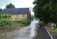 Hochwasser nach einem Gewitter in Wilschdorf, 21.07.2014